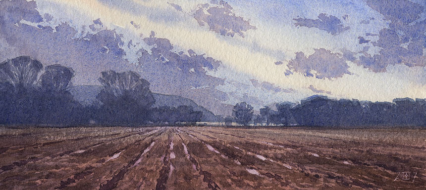 Hambledon Hill, Dorset, watercolour, painting