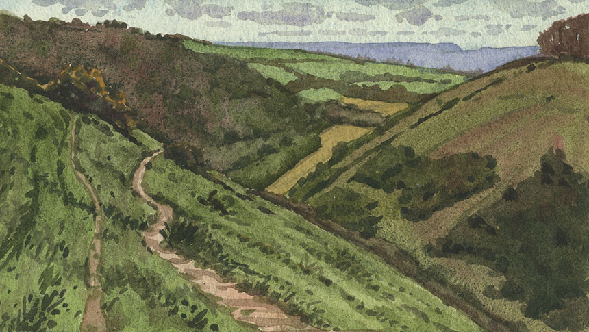 Fontmell Down, Dorset, plein air, watercolour, painting