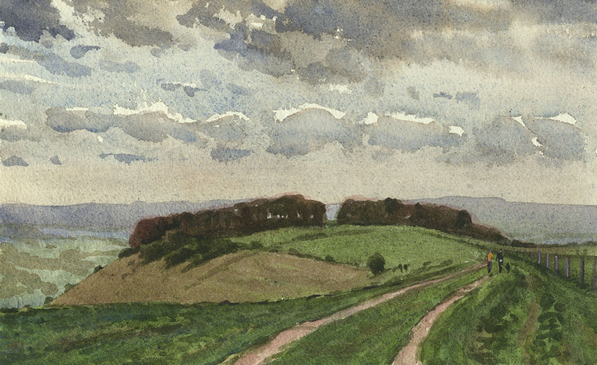 Fontmell Down, Dorset, plein air, watercolour