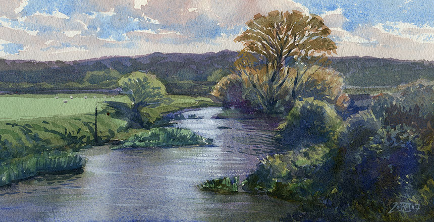 River Stour, Child Okeford, Dorset, watercolour, plein air