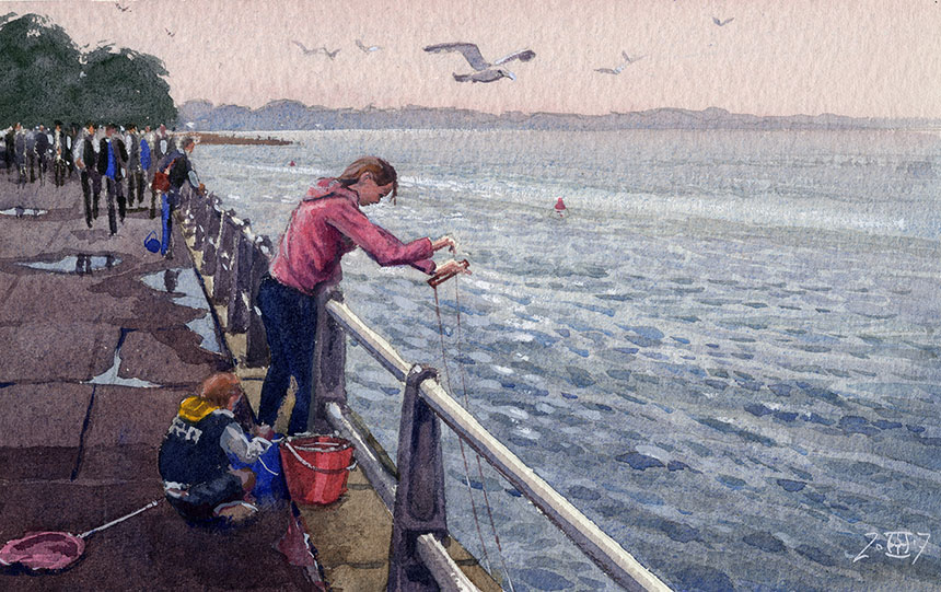Mudeford, crabbing, Dorset, watercolour