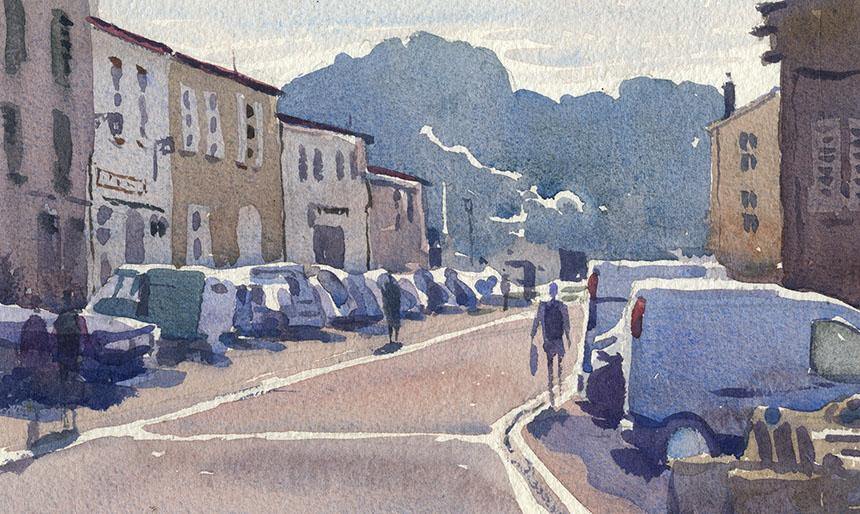 France, St Martin, Isle de Re, watercolour, painting