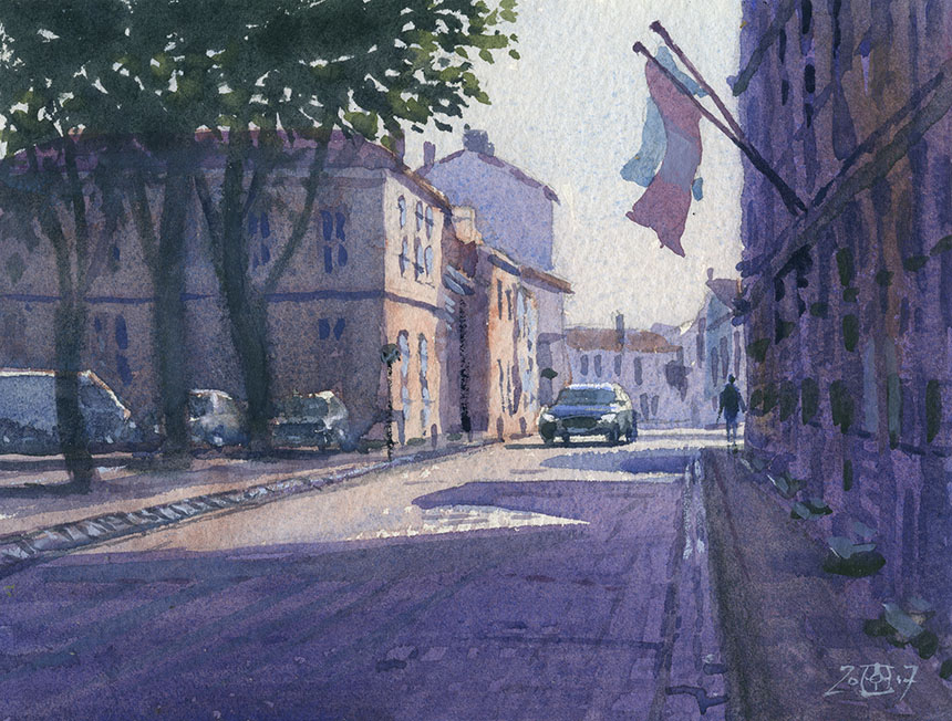 St martin, Isle de Re, France, watercolour