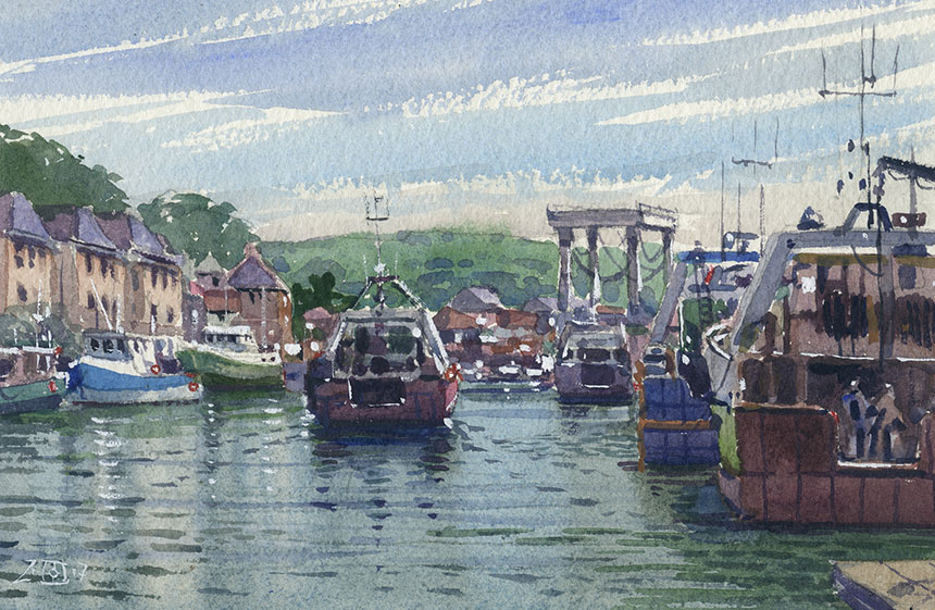 Port en Bessin, harbour, fishing boats, watercolour