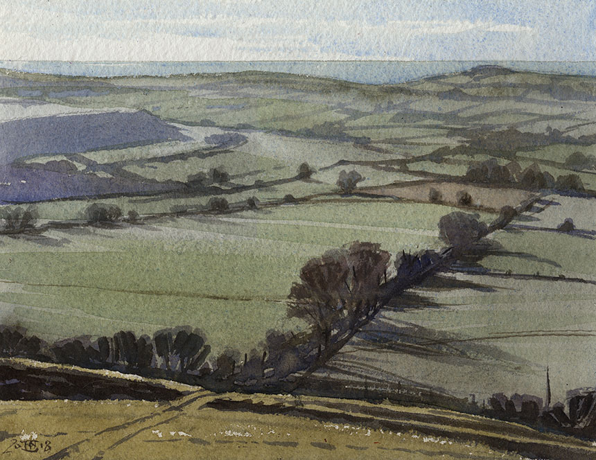 Eggarden Hill, Dorset, watercolour, painting