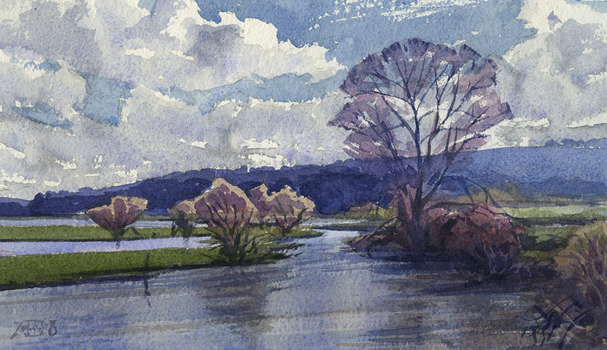 The Stour, Dorset, river, flood, watercolour, painting