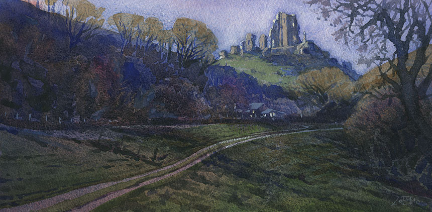 Corfe Castle, Dorset, watercolour, painting
